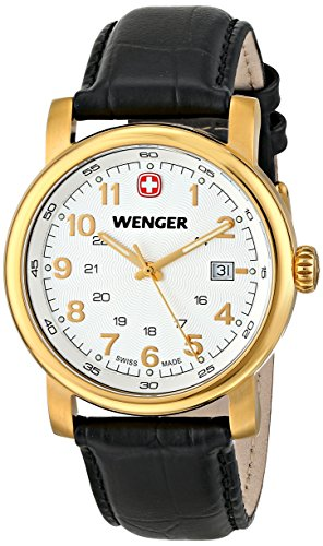 Wenger Men's 01.1041.110 Urban Classic 3H Gold-Tone Watch With Black Leather ()