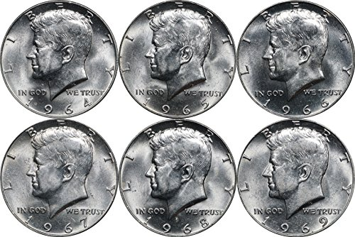 (1964-1969 Kennedy Silver Half Dollar 50C Set, 6 Coins. BU Brilliant Uncirculated)