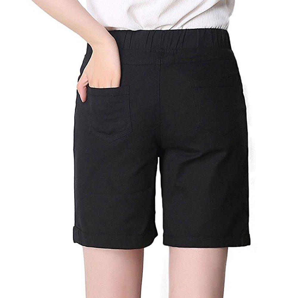 70c2e7c22 Amazon.com: Gooket Women's Modest Loose Elastic Waisted Bermuda Drawstring  Casual Shorts: Clothing