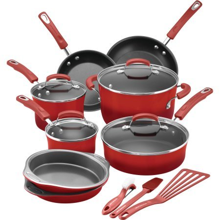 Rachael Ray 15-Piece Hard Enamel Nonstick Cookware Set (Red)