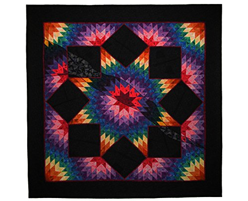 Large Art Quilt, Fiber Art, Fabric Wall Hanging, Traditional Design, Non Traditional Technique, Rainbow Broken Star, Award Winner by For Quilts Sake