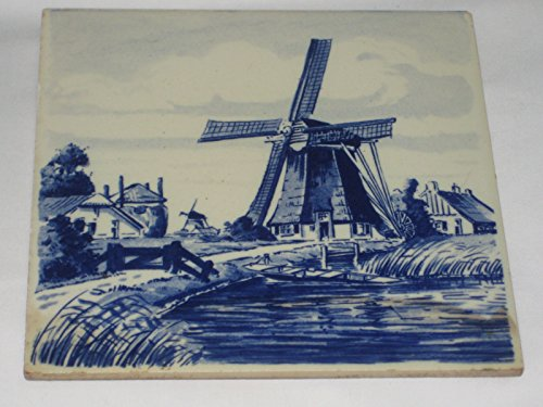 Vintage Delft Blue Holland Windmill Scene 6x6 Inch Decorative Tile Saucer Tile