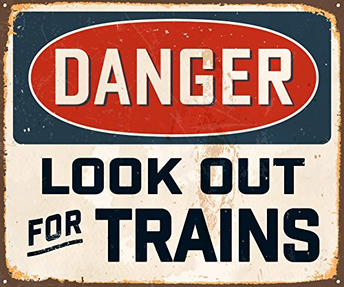 Train Tin Sign (AnnaStoree Metal Signs DANGER LOOK OUT FOR TRAINS Retro Style Metal Tin Sign 12