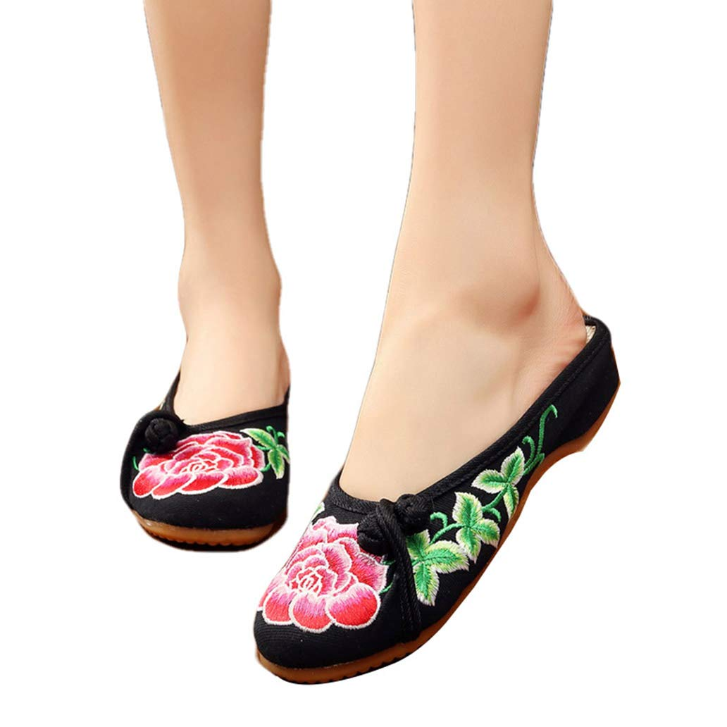 York Zhu Women's Flats Shoes Embroidered Shoes Single Slope with Embroidery Flat Shoes