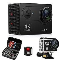Action Cam 4K Wifi, FITFORT 170 °Grandangolare 12MP Ultra HD Impermeabile Fotocamera da 2 Pollici con Schermo LCD 2 Ricaricabile 1050mAh Batterie Borsa da Viaggio con 19 Accessori