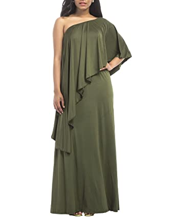 Womens Plus Size Off One Shoulder Ruffles Loose Dress Solid Cocktail Bridesmaid Evening Long Maxi Dresses