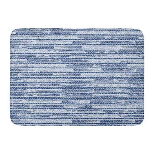 - Emvency Bath Mat Brush Blue Thread Striped Faded Denim Frayed Jeans Abstract Canvas Bathroom Decor Rug 16