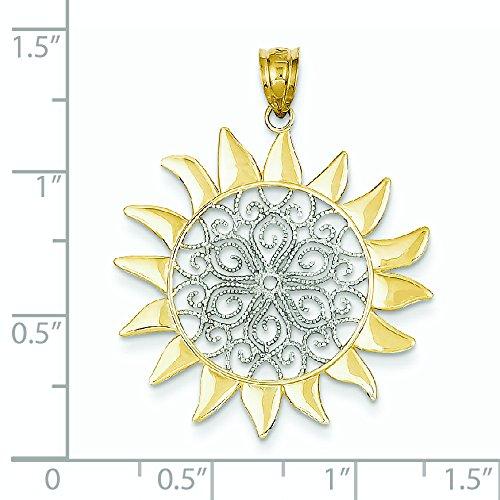 Buy jewelryweb 14k white gold filigree sun pendant