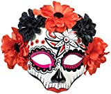 Forum Novelties Women's Day of Dead Skull Flower Mask, Black/Red, One Size