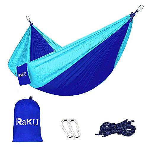 Raku 2-Personen Hängematte (geeignet bis 300kg), Tragbar, Outdoor, Reisen, Camping, Parachute, Nylon, Stoff-Hängematte, Orange