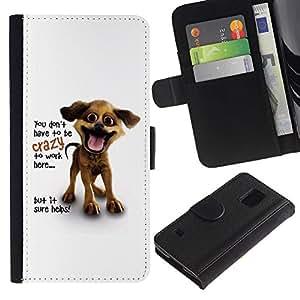LASTONE PHONE CASE / Lujo Billetera de Cuero Caso del tirón Titular de la tarjeta Flip Carcasa Funda para Samsung Galaxy S5 V SM-G900 / You Don'T Have To Be Crazy