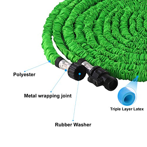 Waterpal Garden Hose 75ft Expandable Water Triple Layer Latex Core, Stamped Aluminum Joints & Extra Strength Fabric Car Wash Use, Green by Waterpal (Image #2)