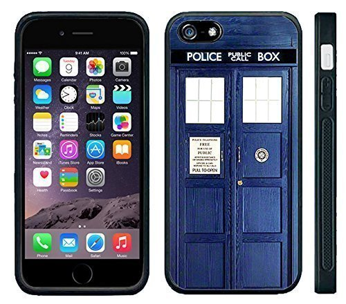 Apple Iphone 6/6S Black Rubber Silicone Case - Tardis Call Box Dr. Who Phone Booth