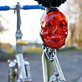 Made By Humans Skull Tail Light - Bicycle Rear LED Light - 5 Lighting Modes - 2 Laser Cannons Safety Lane