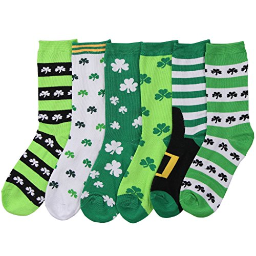 Women's Fun and Colorful Crew Sock 6 Packs (St. Patrick's Day 1)