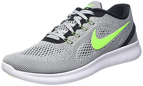 Image of the NIKE Men's Free RN Distance Running Shoe-Platinum/Electric Green/Anthracite-10.5