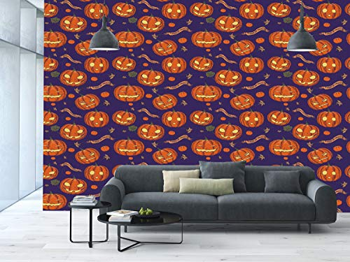 Large Wall Mural Sticker [ Halloween,Pumpkins Pattern Different Face Expressions Happy Angry Scary Puzzled,Orange Indigo Yellow ] Self-Adhesive Vinyl Wallpaper/Removable Modern Decorating Wall Art