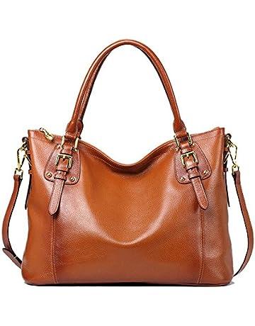 d9d91df7b59 Kattee Women s Vintage Genuine Soft Leather Tote Shoulder Bag (Black