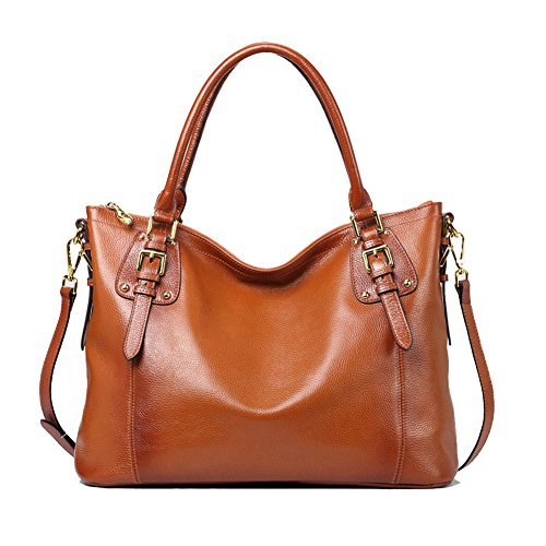 Kattee Women's Vintage Genuine Soft Leather Tote Shoulder Bag (Sorrel, Large) (Bag Shoulder Leather Tote)