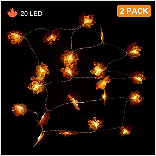 HIGHEVER Fall Decor, Thanksgiving Christmas Decorations Lighted Fall Garland, Maple Leaf String Lights,20LED 10 Feet Battery Powered Harvest Fall Garlands String Light, 2 Pack