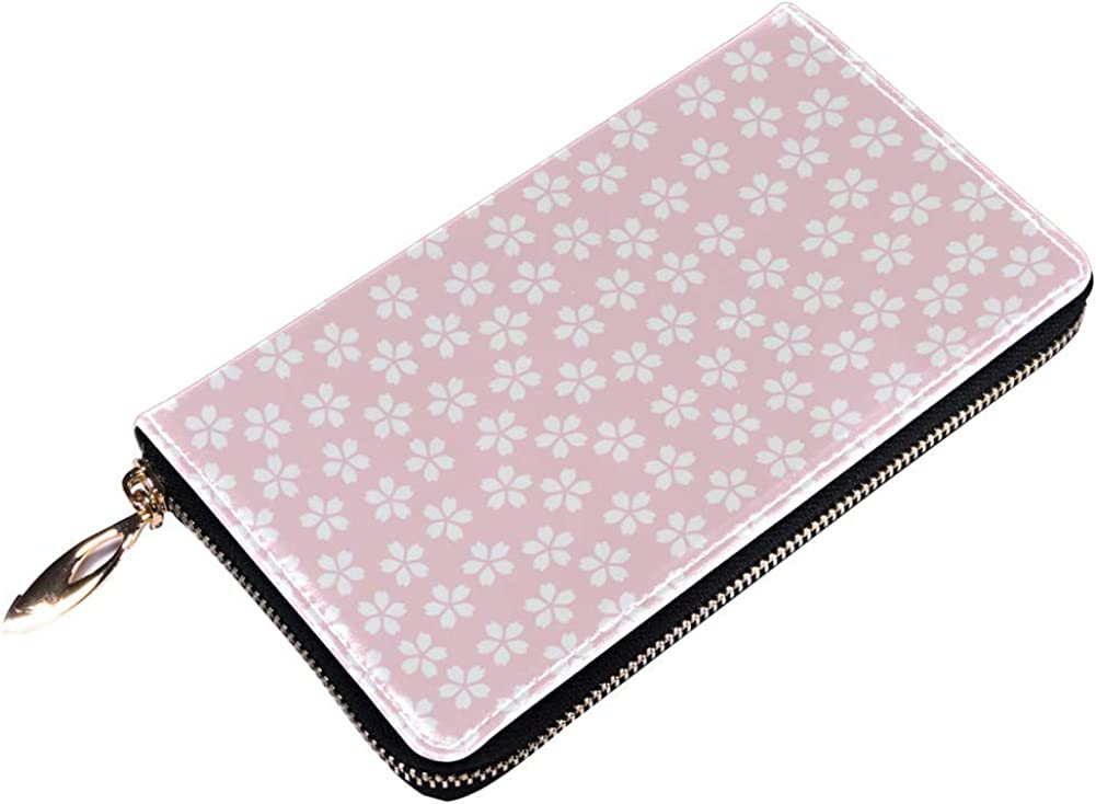 Womens Zip Around Wallet and Phone Clutch,Travel Purse Leather Clutch Bag Card Holder Organizer Wristlets Wallets,Cherry Blooming