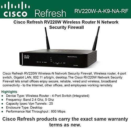 Cisco Refresh RV220W Wireless Router N Network Security Firewall 802.11 a/b/g/n by Cisco