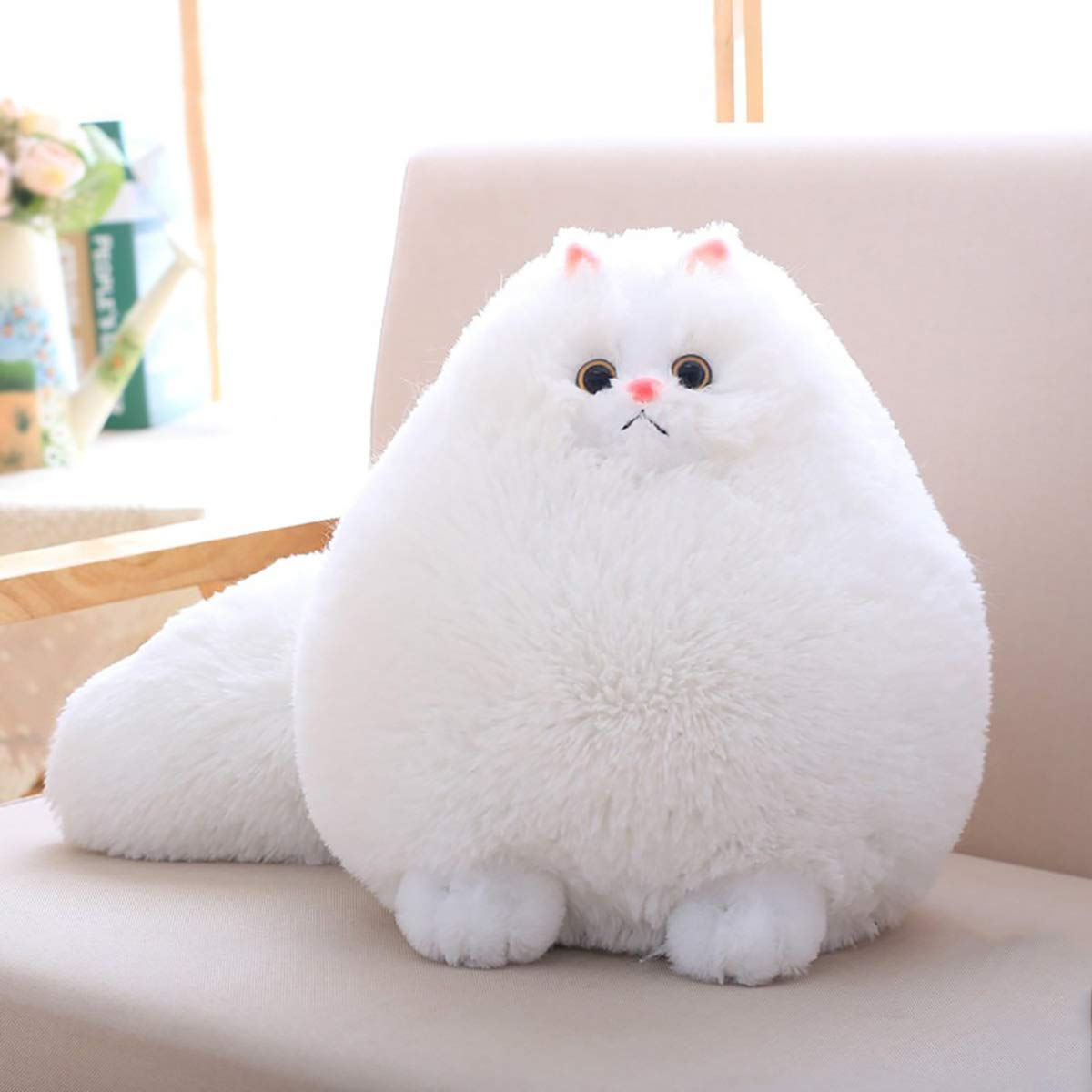 Winsterch Kids Stuffed Cats Plush Animal Toys Gift Baby Doll, White Plush Cat, 12 Inches A003