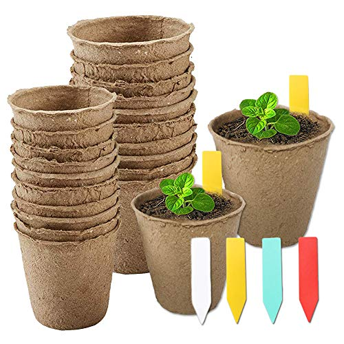 - YBB 60 Pcs Plant Starter Pots + 60 Pcs Colorful Plant Markers, 3 Inch and 2.36 Inch Biodegradable Plant Seed Starter Kit Organic Peat Pots for Seedlings, Flowers, Vegetables