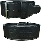 Steel Sweat Powerlifting Belt for Weight Lifting - 4'' Wide by 10mm Thick - Single Prong Heavy Duty Adjustable Weightlifting Belt, High Grade Leather - Bolt Black Small