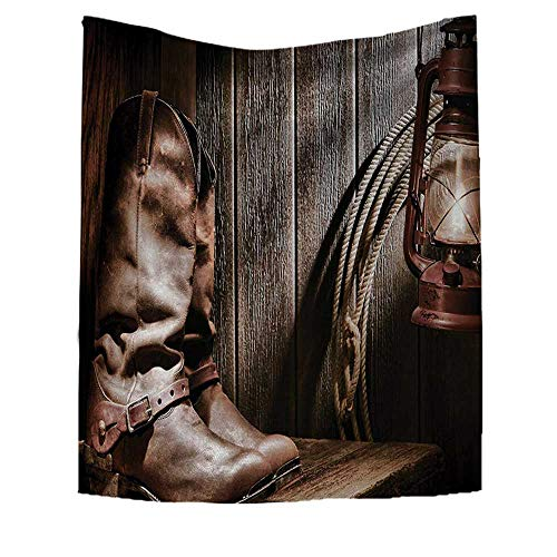 RuppertTextile Western Wall Hanging Tapestries Dallas Cowboys and Lantern on a Bench in Vintage Ranch Nostalgic Folkloric Photograph Large tablecloths 57W x 74L INCH Brown ()