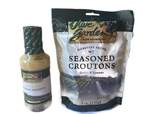 Olive Garden's Signature Italian Salad Dressing and Seasoned Croutons - Bundle (Italian Dressing Tuscany)
