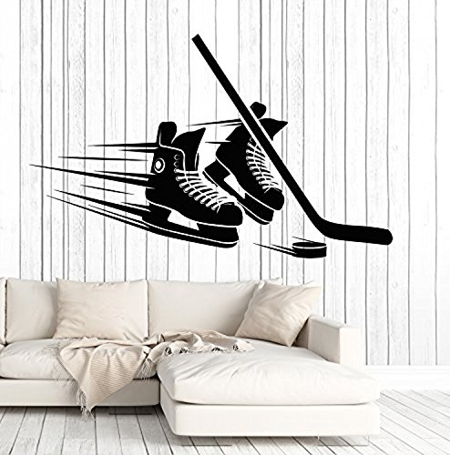 Art of Decals Vinyl Wall Decal Hockey Player Skates Stick Puck Equipment Stickers Large Decor 738