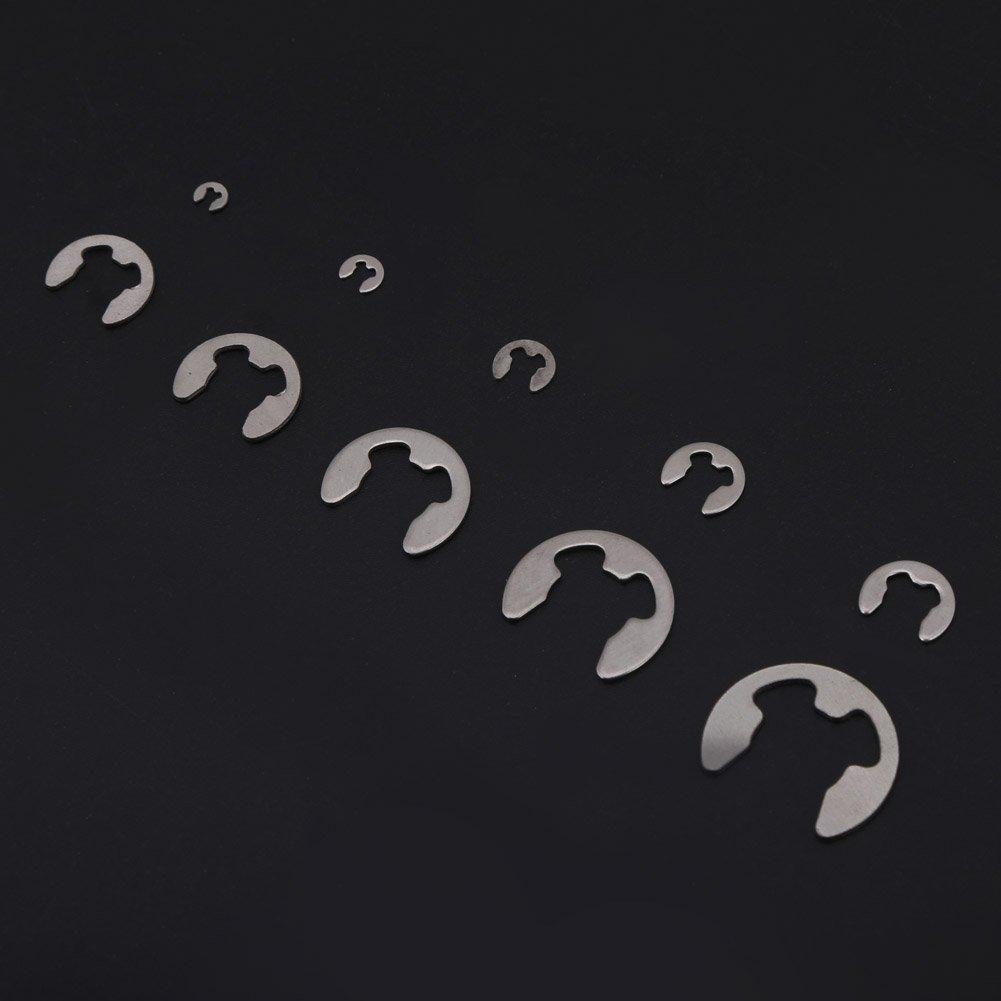 GOTOTOP Circlips E-Clip Assortiment en 304 Acier Inoxydable M1.5-M10 200 PCS