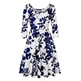 Vibola Dress Women, Floral Printing Three Quarter Sleeve A Line Party Dress (L, Blue)