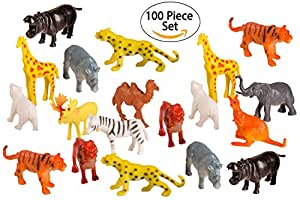 100 Piece Party Pack Mini Wild Jungle Animals - Plastic Mini Educational Jungle Animal Toys - Fun Gift Party Giveaway
