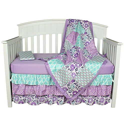 Crib Cap - Zoe Floral Purple and Aqua Baby Crib Bedding - 11 Piece Sleep Essentials Set