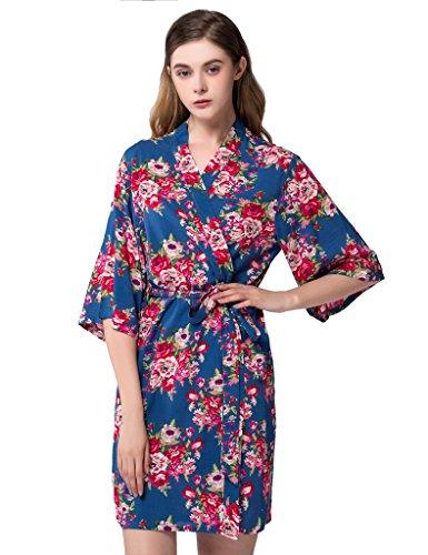 Isoft Women's Short Kimono Robe, Bridesmaid robes and gift Standard Size Blue
