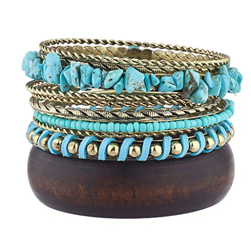 Lux Accessories Burnished Gold Tone Boho Wooden Faux Turq Bangle Bracelet Set (Wooden Bangle Bracelets)