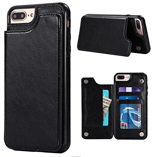 s 7Plus Wallet Case Credit Card Holder Slot Business Thin Slim Carrying Handy Shockproof Cover Durable Stylish Simple Black (Simple Card Holder)