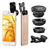 Generic 3 in 1 Universal Clips Cell Phone Camera Fish Eye Lens Kit With Fish Eye Lens + 2 in 1 Macro Lens + Wide Angle Lens + Universal Clip + Carry Pouch+Microfiber Cleaning Cloth For iPhone 4S 5 5S 5C 6 itouch iPad Samsung Galaxy S3 S4 S5 Note 2/3/4 HTC Nokia Sony Cell Phone Smartphone (Black)