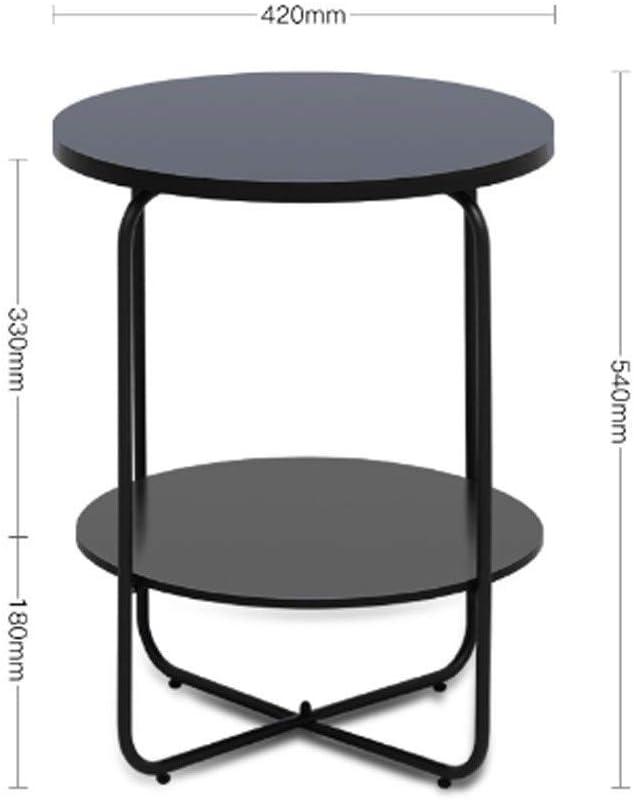 Hermosa Apariencia Tabla pequeña Cafetera for la casa estudio dormitorio, Nordic redondo simple multi-capa Mesa de vida sofá de la tabla de múltiples funciones de la mesa de centro, Negro Fácil de