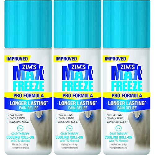 Zims Max Freeze Muscle & Joint Pain Relief - Roll On - Greaseless, Vanishing Scent - Net Wt. 3 FL OZ (89 g) Per Bottle - Pack of 3