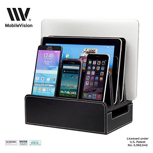 MobileVision Charging Station Slim Black Faux Leather Executive Stand and Docking Organizer for Multiple Devices, Smartphones, Tablets, & Laptops - Executive Charging Station