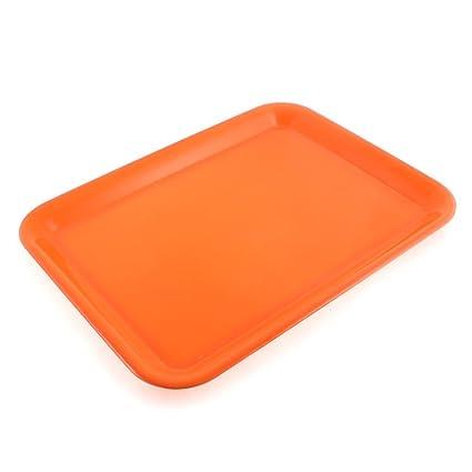 sourcingmap Restaurante Plástico Rectángulo En Forma De Comida Bandeja De Servicio 38.1cm Largo - Naranja