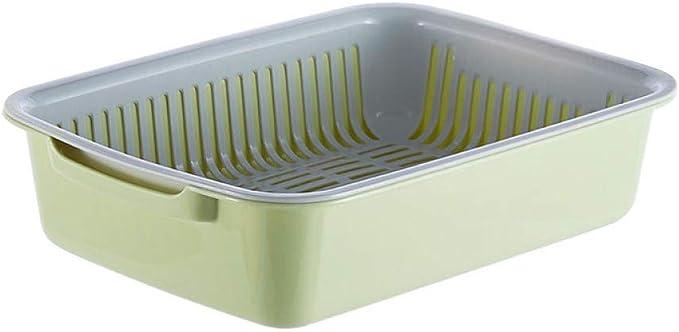 Ytlepy Gran colador de plástico, Verduras rectangulares enmarcadas, Frutas, Verduras, Caja de Almacenamiento de Cubiertos.@Verde: Amazon.es: Hogar