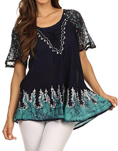 Sakkas 786 - Cora Relaxed Fit Batik Design Embroidery Cap Sleeves Blouse / Top - Navy / Turq - OS (Plus Size Indian Fancy Dress)