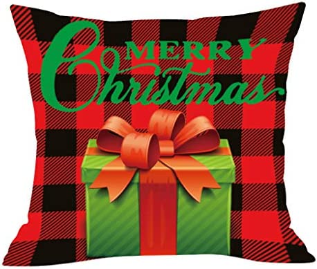 Christmas Throw Pillow Covers 18x18 inch Christmas Series Printed Pillowcase Soft Decoration Cushion Cover Bed Car Cafe Office Soft Square Cushion Cover Cafe Sofa Home Decoration (A) / Christmas Throw Pillow Covers 18x18 inch Chris...