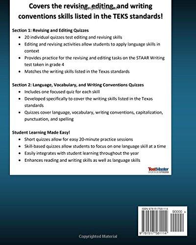 TEXAS TEST PREP Writing Skills Quiz Book TEKS