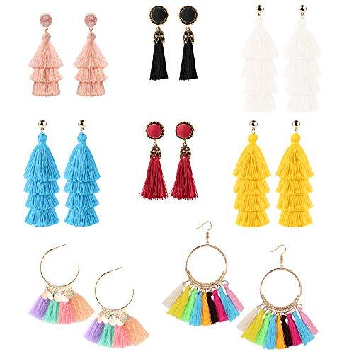 8233108baacb74 LOYALLOOK 8Pairs Tassel Earrings Layered Tassel Earrings Bohemian Dangle  Drop Tiered Tassel Druzy Stud Earrings Women