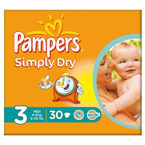 Pampers Simply Dry taille 3 de transport – Lot de 30 BBC00004847